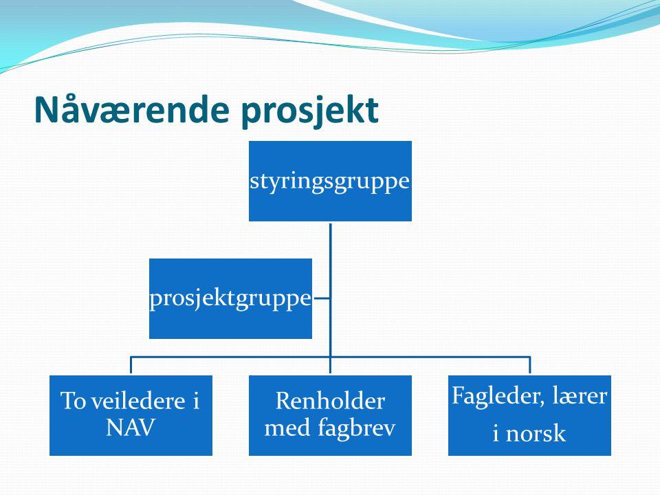 Nåværende prosjekt styringsgruppe To veiledere i NAV Renholder med fagbrev Fagleder, lærer i norsk prosjektgruppe
