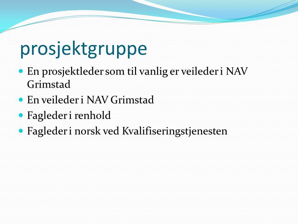 prosjektgruppe En prosjektleder som til vanlig er veileder i NAV Grimstad En veileder i NAV Grimstad Fagleder i renhold Fagleder i norsk ved Kvalifise