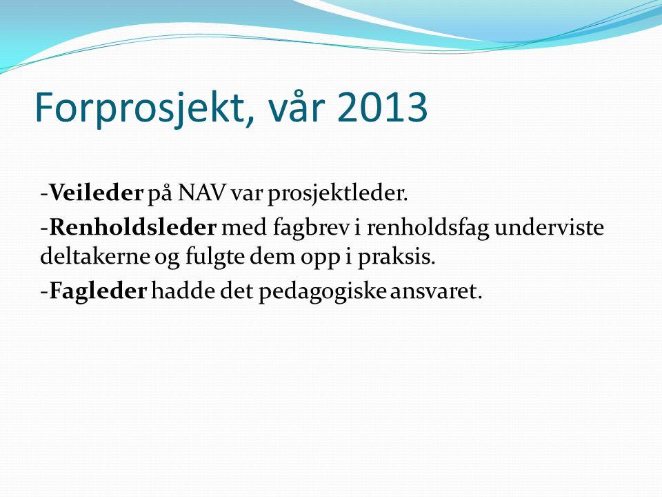 Forprosjekt, vår 2013 -Veileder på NAV var prosjektleder. -Renholdsleder med fagbrev i renholdsfag underviste deltakerne og fulgte dem opp i praksis.