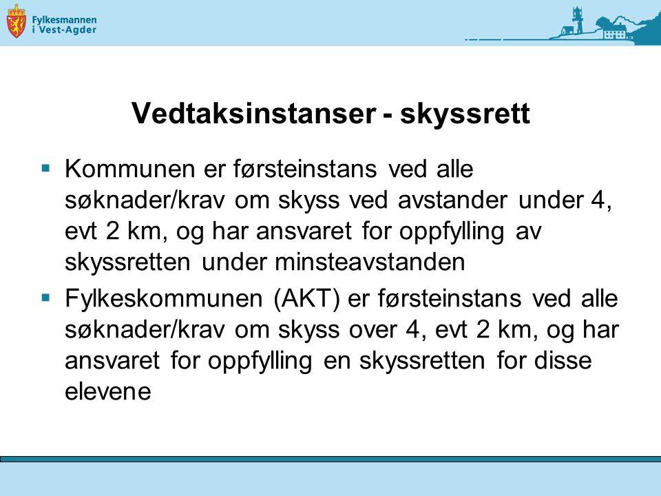 Vedtaksinstanser - skyssrett  Kommunen er førsteinstans ved alle søknader/krav om skyss ved avstander under 4, evt 2 km, og har ansvaret for oppfylli