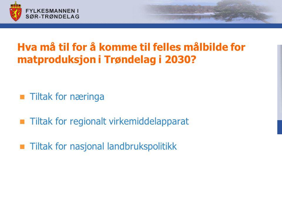 Hva må til for å komme til felles målbilde for matproduksjon i Trøndelag i 2030? Tiltak for næringa Tiltak for regionalt virkemiddelapparat Tiltak for