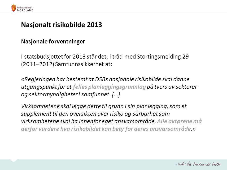 Nasjonalt risikobilde 2013 Nasjonale forventninger I statsbudsjettet for 2013 står det, i tråd med Stortingsmelding 29 (2011–2012) Samfunnssikkerhet a
