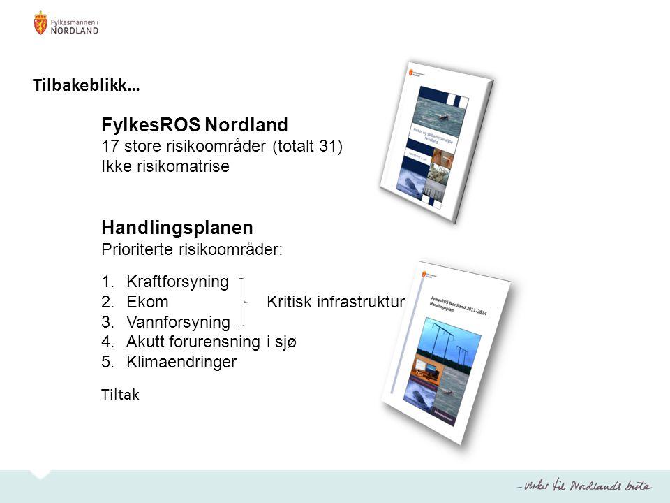 FylkesROS Nordland 17 store risikoområder (totalt 31) Ikke risikomatrise Handlingsplanen Prioriterte risikoområder: 1.Kraftforsyning 2.Ekom Kritisk in