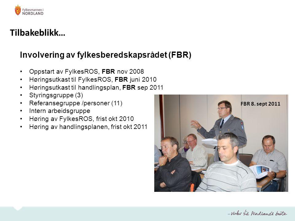 Involvering av fylkesberedskapsrådet (FBR) Oppstart av FylkesROS, FBR nov 2008 Høringsutkast til FylkesROS, FBR juni 2010 Høringsutkast til handlingsp