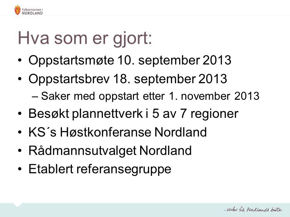 Hva som er gjort: Oppstartsmøte 10. september 2013 Oppstartsbrev 18.