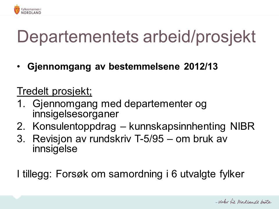 Departementets arbeid/prosjekt Gjennomgang av bestemmelsene 2012/13 Tredelt prosjekt; 1.Gjennomgang med departementer og innsigelsesorganer 2.Konsulentoppdrag – kunnskapsinnhenting NIBR 3.Revisjon av rundskriv T-5/95 – om bruk av innsigelse I tillegg: Forsøk om samordning i 6 utvalgte fylker