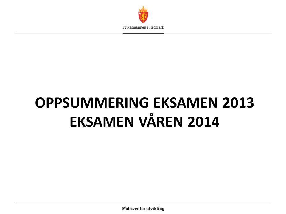 OPPSUMMERING EKSAMEN 2013 EKSAMEN VÅREN 2014