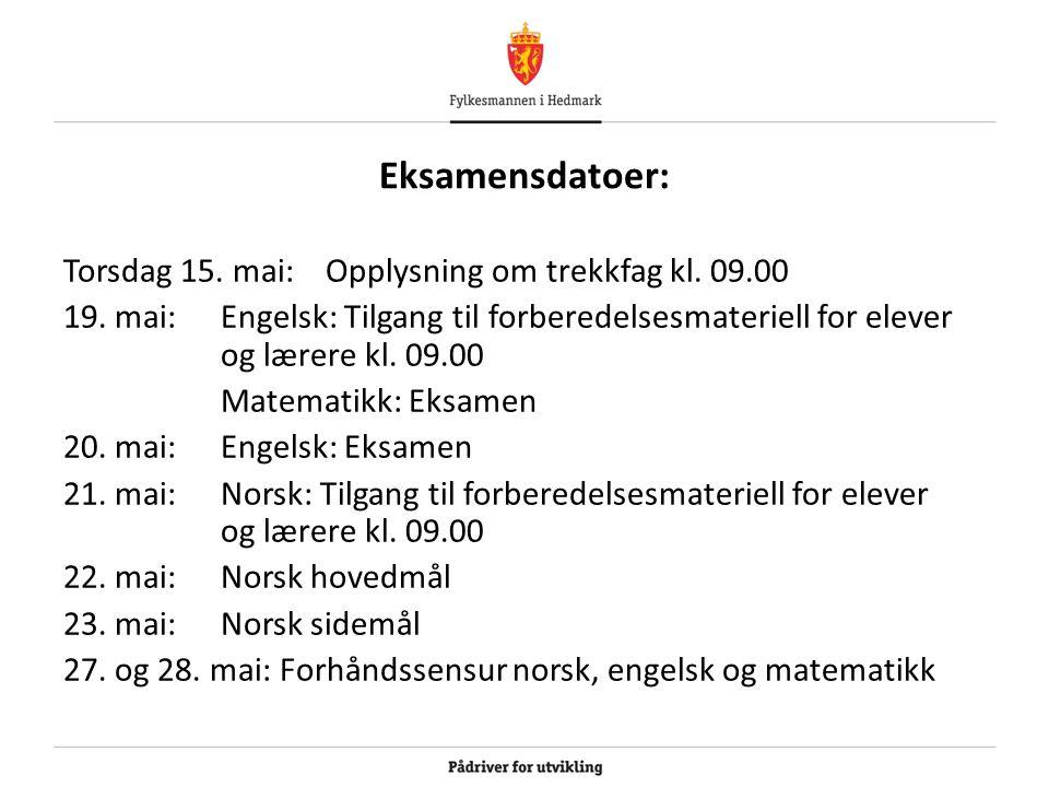 Eksamensdatoer: Torsdag 15. mai:Opplysning om trekkfag kl. 09.00 19. mai:Engelsk: Tilgang til forberedelsesmateriell for elever og lærere kl. 09.00 Ma