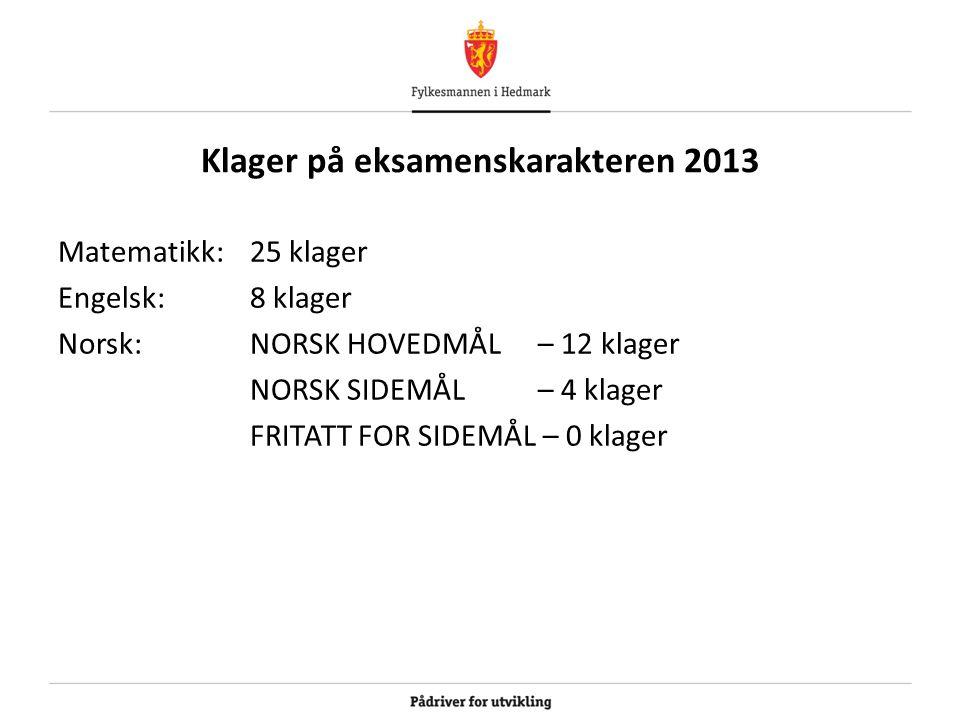 Klager på eksamenskarakteren 2013 Matematikk: 25 klager Engelsk: 8 klager Norsk: NORSK HOVEDMÅL – 12 klager NORSK SIDEMÅL – 4 klager FRITATT FOR SIDEM
