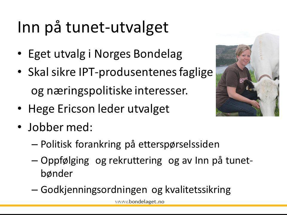 Inn på tunet-utvalget Eget utvalg i Norges Bondelag Skal sikre IPT-produsentenes faglige og næringspolitiske interesser.