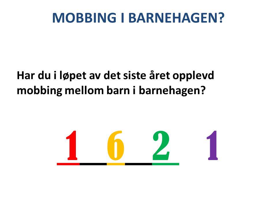 MOBBING I BARNEHAGEN? Har du i løpet av det siste året opplevd mobbing mellom barn i barnehagen? 1 6 2 1