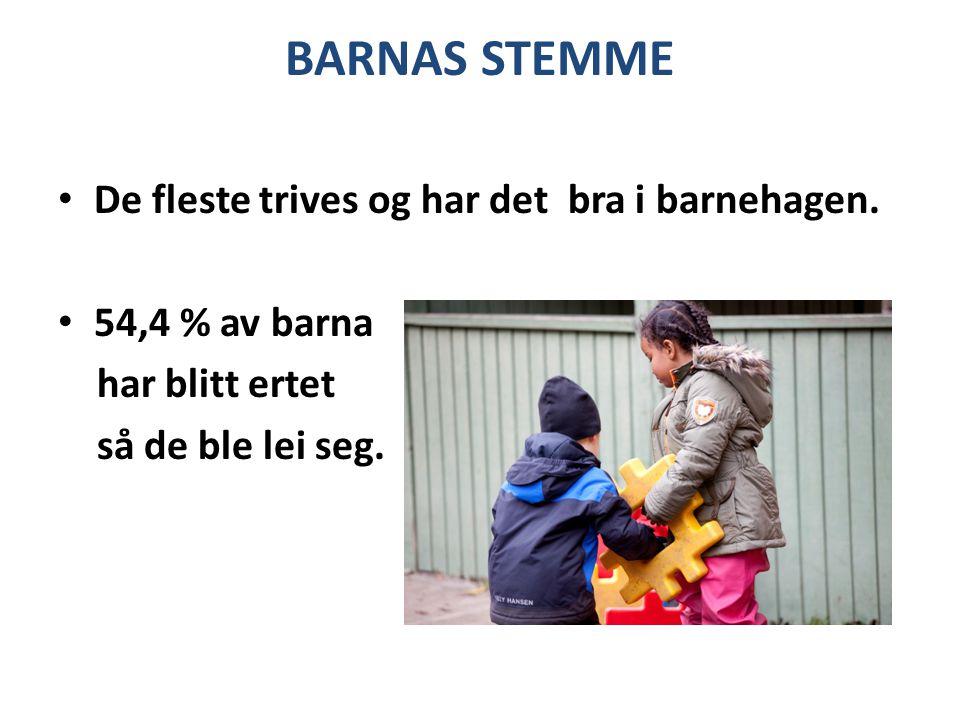 BARNAS STEMME De fleste trives og har det bra i barnehagen. 54,4 % av barna har blitt ertet så de ble lei seg.