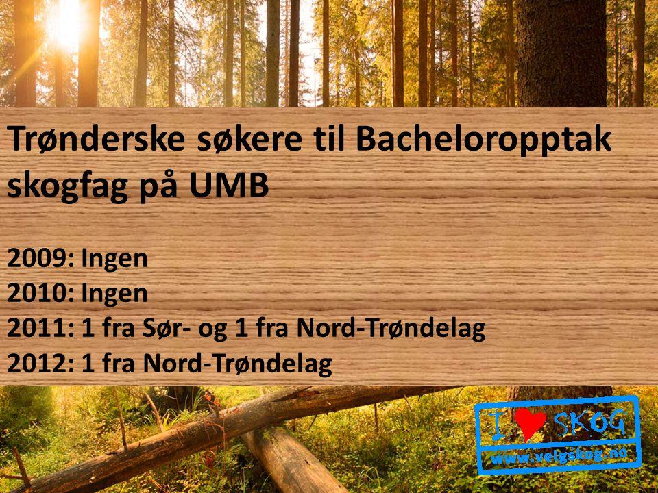 Trønderske søkere til Bacheloropptak skogfag på UMB 2009: Ingen 2010: Ingen 2011: 1 fra Sør- og 1 fra Nord-Trøndelag 2012: 1 fra Nord-Trøndelag