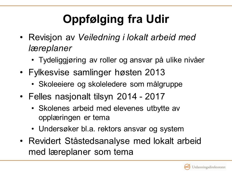 Oppfølging fra Udir Revisjon av Veiledning i lokalt arbeid med læreplaner Tydeliggjøring av roller og ansvar på ulike nivåer Fylkesvise samlinger høst