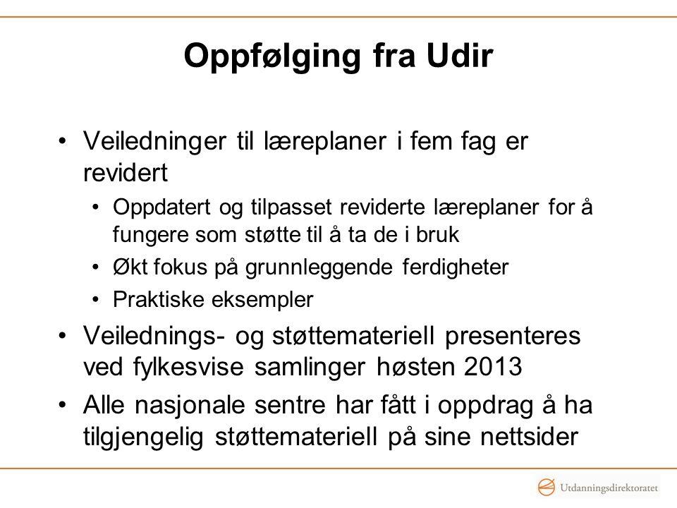 Oppfølging fra Udir Veiledninger til læreplaner i fem fag er revidert Oppdatert og tilpasset reviderte læreplaner for å fungere som støtte til å ta de