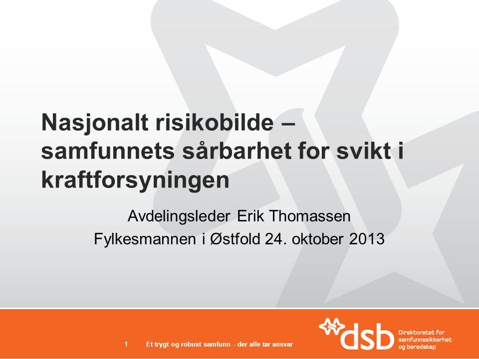 Nasjonalt risikobilde – samfunnets sårbarhet for svikt i kraftforsyningen Avdelingsleder Erik Thomassen Fylkesmannen i Østfold 24. oktober 2013 Et try