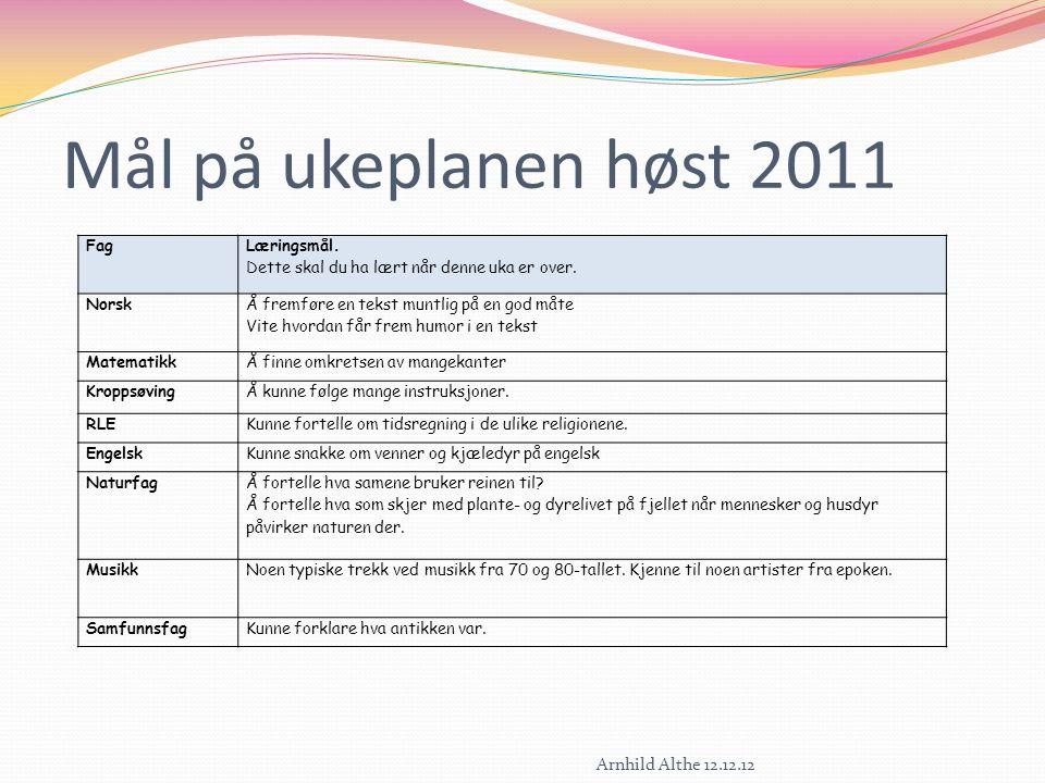 Mål på ukeplanen høst 2011 Fag Læringsmål. Dette skal du ha lært når denne uka er over. Norsk Å fremføre en tekst muntlig på en god måte Vite hvordan