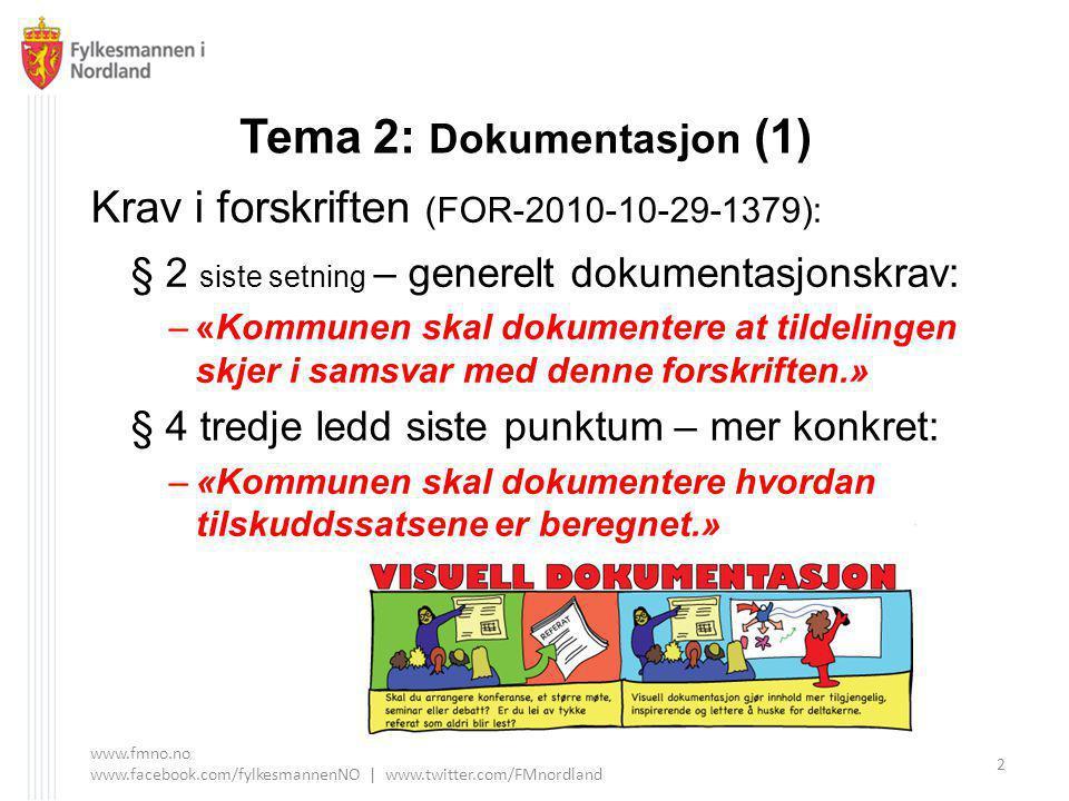 Tema 2: Dokumentasjon (1) Krav i forskriften (FOR-2010-10-29-1379): § 2 siste setning – generelt dokumentasjonskrav: –«Kommunen skal dokumentere at tildelingen skjer i samsvar med denne forskriften.» § 4 tredje ledd siste punktum – mer konkret: –«Kommunen skal dokumentere hvordan tilskuddssatsene er beregnet.» www.fmno.no www.facebook.com/fylkesmannenNO | www.twitter.com/FMnordland 2