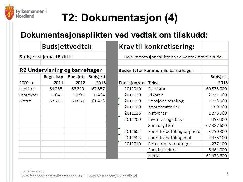 T2: Dokumentasjon (4) Dokumentasjonsplikten ved vedtak om tilskudd: www.fmno.no www.facebook.com/fylkesmannenNO | www.twitter.com/FMnordland 5