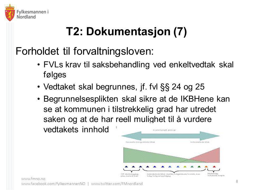 T2: Dokumentasjon (7) Forholdet til forvaltningsloven: FVLs krav til saksbehandling ved enkeltvedtak skal følges Vedtaket skal begrunnes, jf.