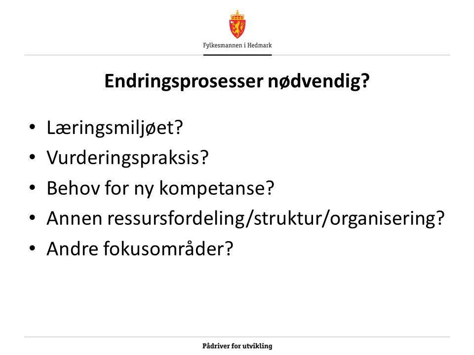 Endringsprosesser nødvendig? Læringsmiljøet? Vurderingspraksis? Behov for ny kompetanse? Annen ressursfordeling/struktur/organisering? Andre fokusområ