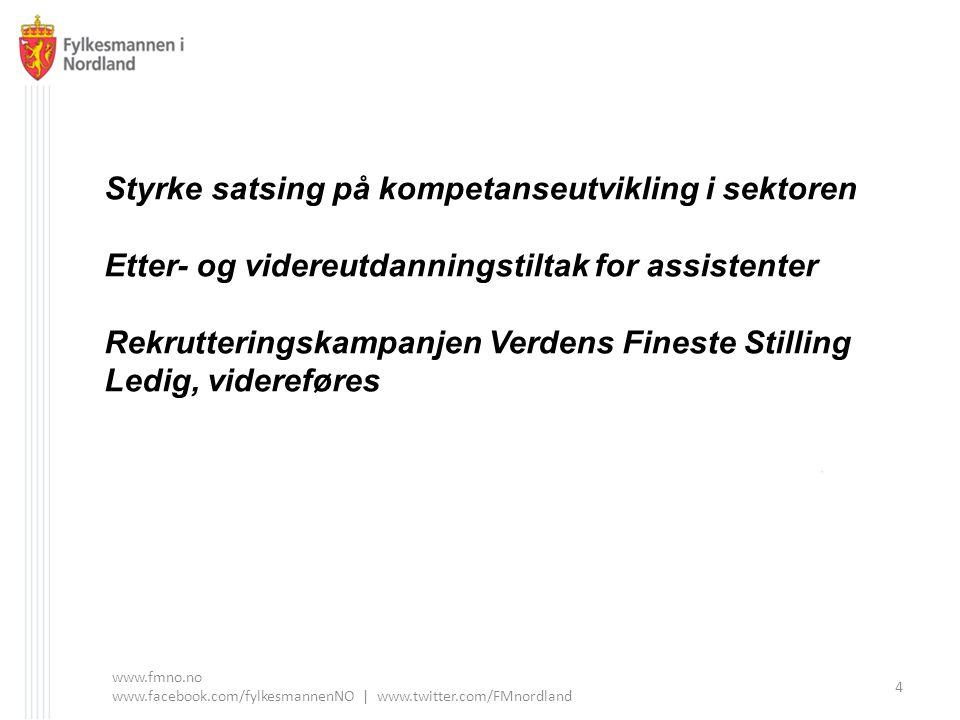 www.fmno.no www.facebook.com/fylkesmannenNO | www.twitter.com/FMnordland 4 Styrke satsing på kompetanseutvikling i sektoren Etter- og videreutdanningstiltak for assistenter Rekrutteringskampanjen Verdens Fineste Stilling Ledig, videreføres