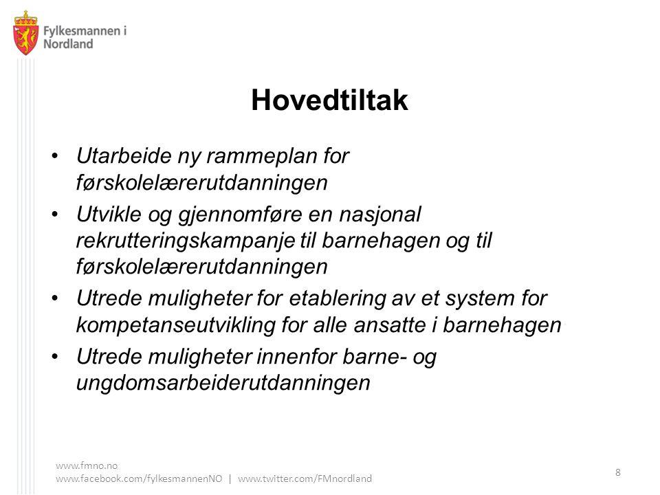 www.fmno.no www.facebook.com/fylkesmannenNO | www.twitter.com/FMnordland 9 Utrede muligheter for sømløse overganger og karriereveier i utdanningssystemet for arbeid i barnehager.