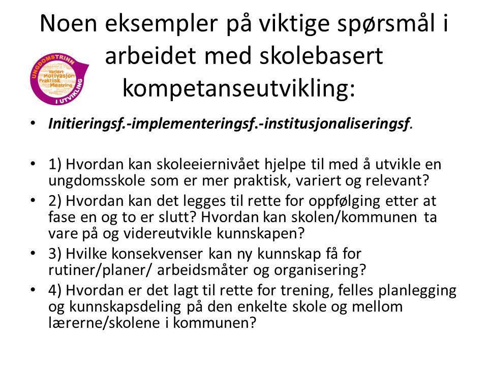 Noen eksempler på viktige spørsmål i arbeidet med skolebasert kompetanseutvikling: Initieringsf.-implementeringsf.-institusjonaliseringsf. 1) Hvordan