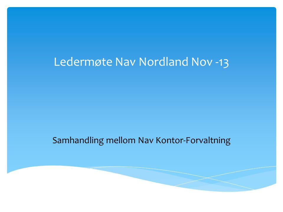 Ledermøte Nav Nordland Nov -13 Samhandling mellom Nav Kontor-Forvaltning
