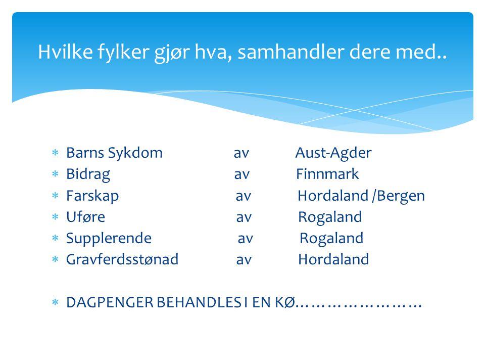  Barns Sykdom av Aust-Agder  Bidrag av Finnmark  Farskap av Hordaland /Bergen  Uføre av Rogaland  Supplerende av Rogaland  Gravferdsstønad av Ho