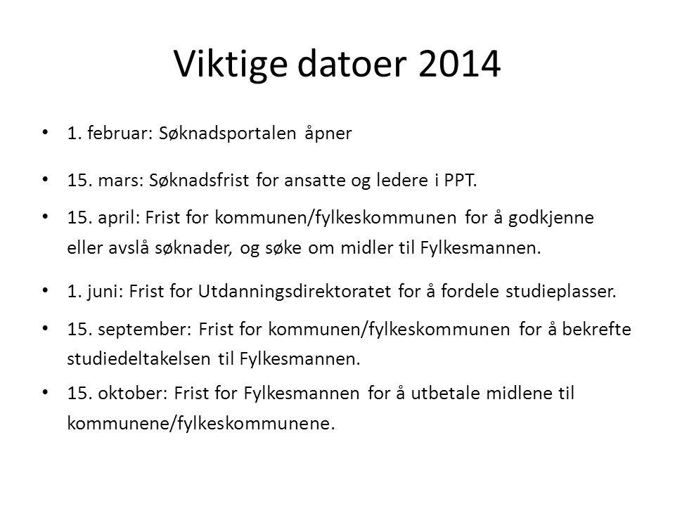 Viktige datoer 2014 1. februar: Søknadsportalen åpner 15. mars: Søknadsfrist for ansatte og ledere i PPT. 15. april: Frist for kommunen/fylkeskommunen