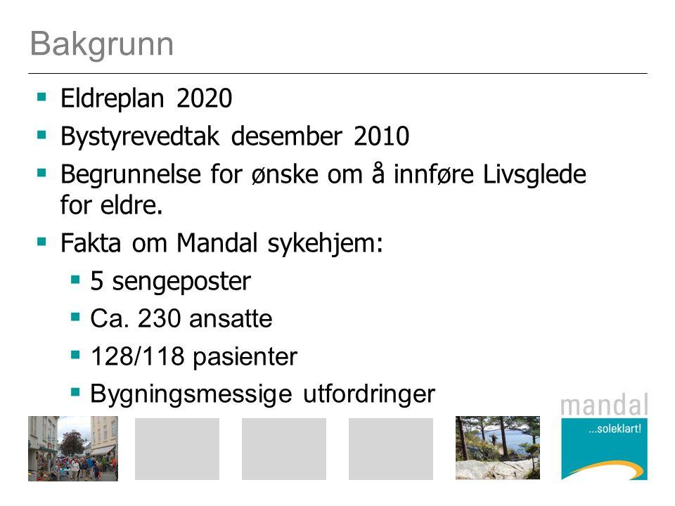 Bakgrunn  Eldreplan 2020  Bystyrevedtak desember 2010  Begrunnelse for ønske om å innføre Livsglede for eldre.  Fakta om Mandal sykehjem:  5 seng