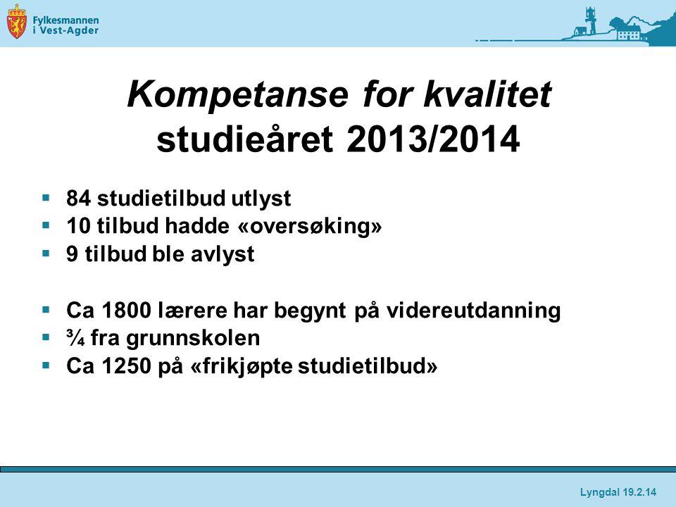 Kompetanse for kvalitet studieåret 2013/2014  84 studietilbud utlyst  10 tilbud hadde «oversøking»  9 tilbud ble avlyst  Ca 1800 lærere har begynt