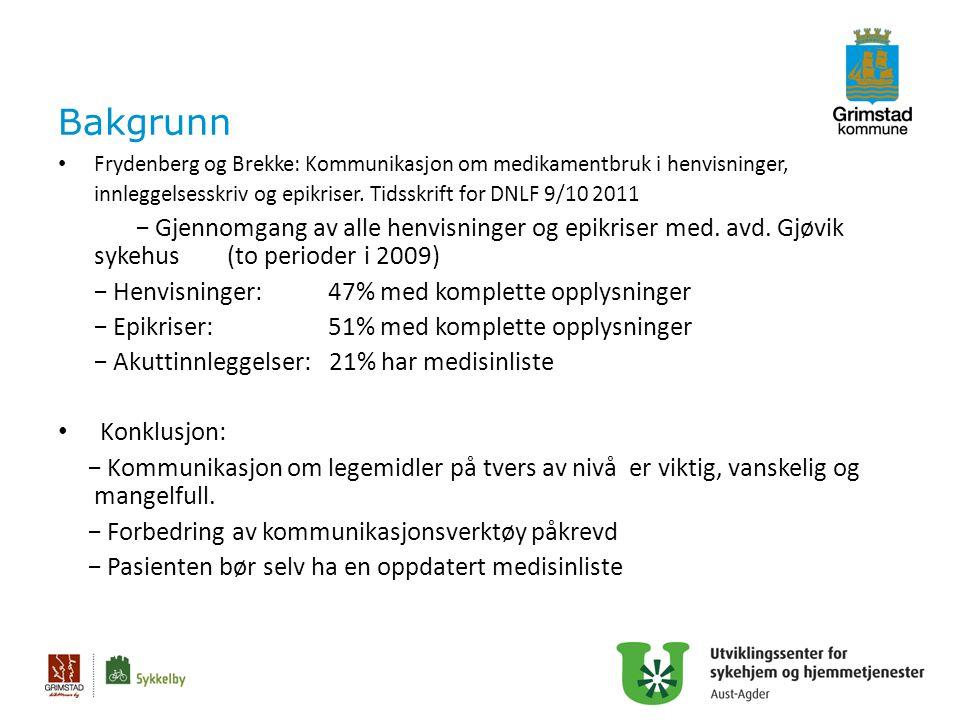 Bakgrunn Frydenberg og Brekke: Kommunikasjon om medikamentbruk i henvisninger, innleggelsesskriv og epikriser. Tidsskrift for DNLF 9/10 2011 − Gjennom