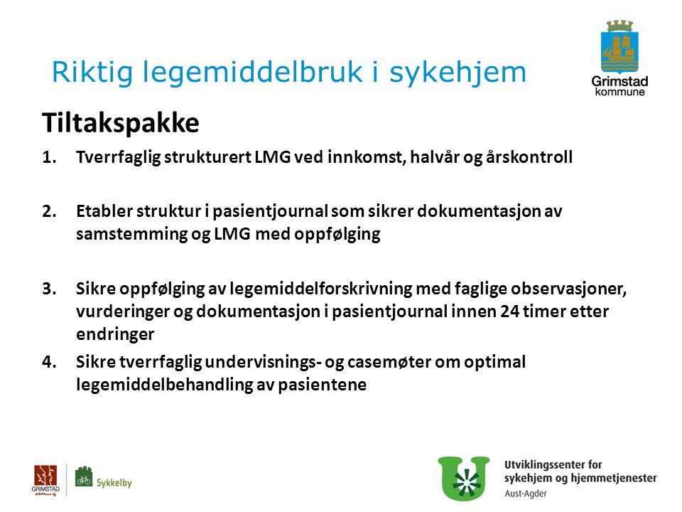 Riktig legemiddelbruk i sykehjem Tiltakspakke 1.Tverrfaglig strukturert LMG ved innkomst, halvår og årskontroll 2.Etabler struktur i pasientjournal so