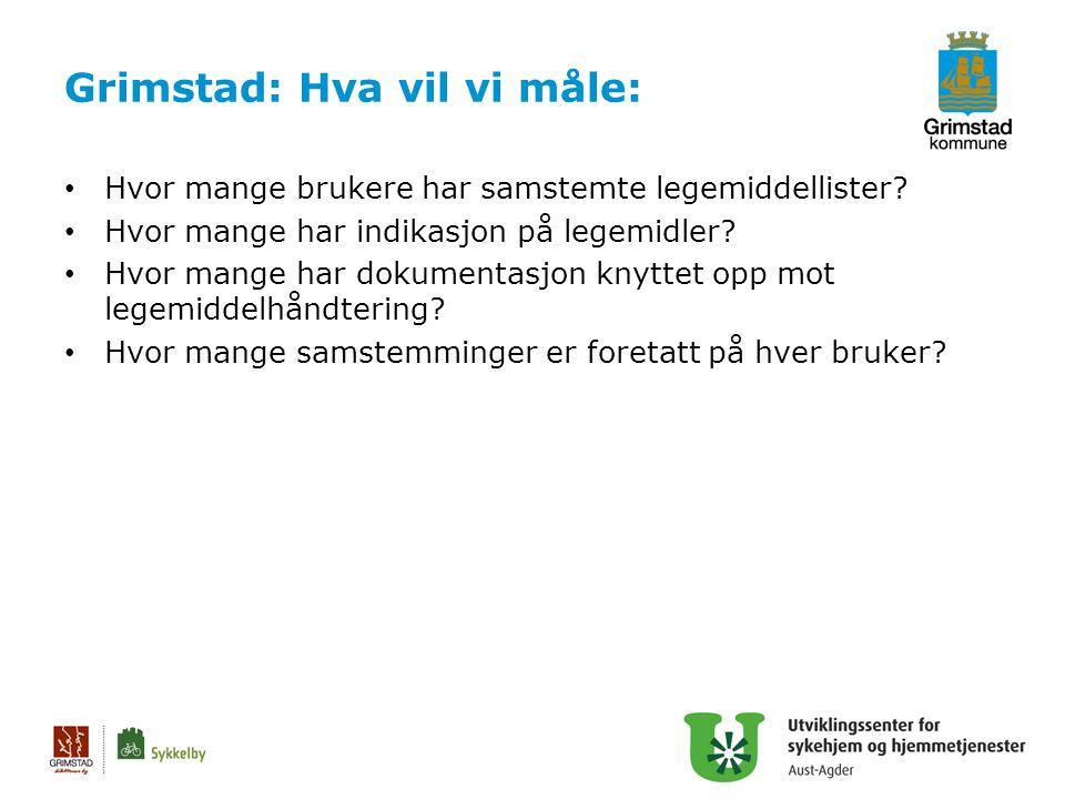 Grimstad: Hva vil vi måle: Hvor mange brukere har samstemte legemiddellister? Hvor mange har indikasjon på legemidler? Hvor mange har dokumentasjon kn