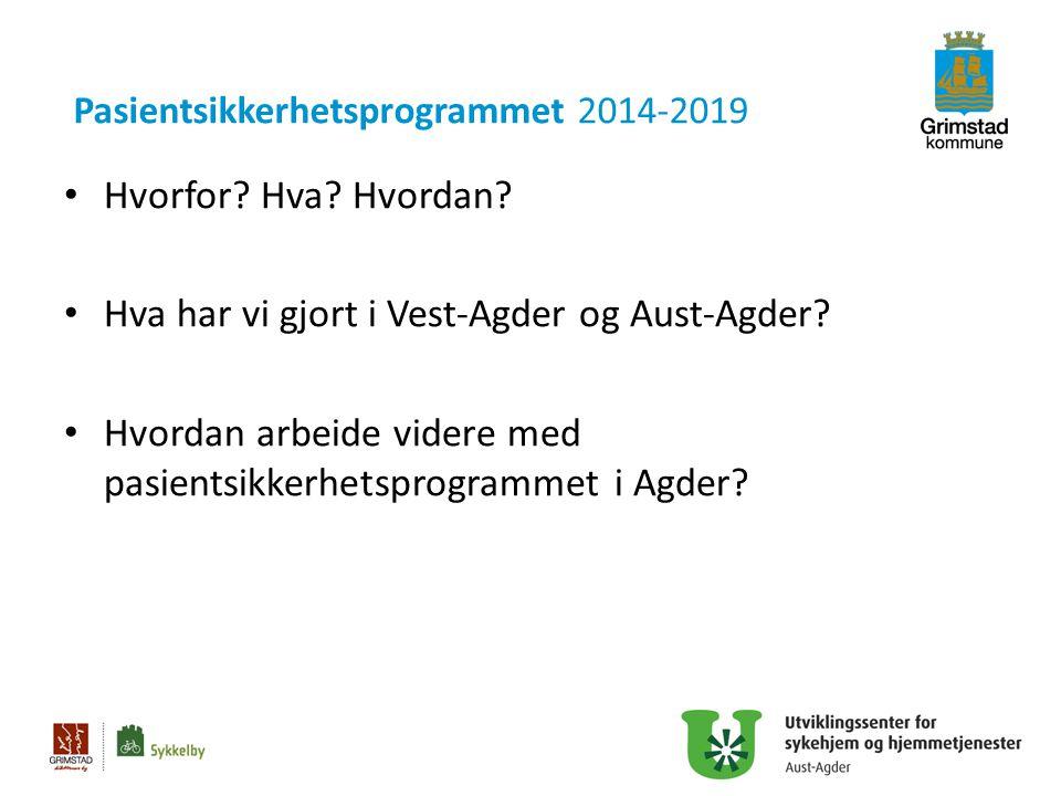Pasientsikkerhetsprogrammet 2014-2019 Hvorfor? Hva? Hvordan? Hva har vi gjort i Vest-Agder og Aust-Agder? Hvordan arbeide videre med pasientsikkerhets