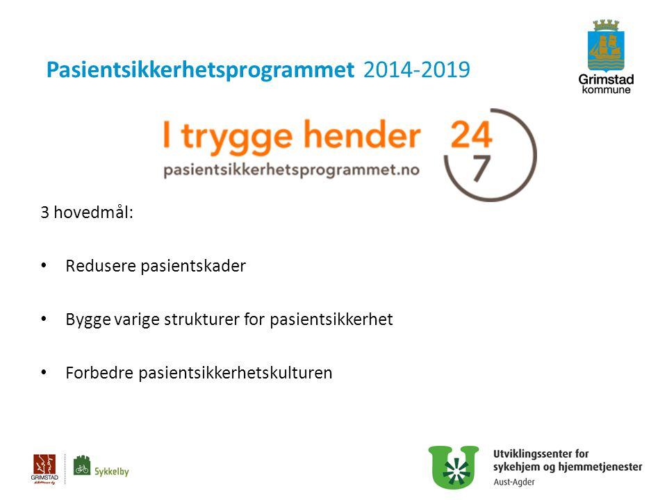 Pasientsikkerhetsprogrammet 2014-2019 3 hovedmål: Redusere pasientskader Bygge varige strukturer for pasientsikkerhet Forbedre pasientsikkerhetskultur