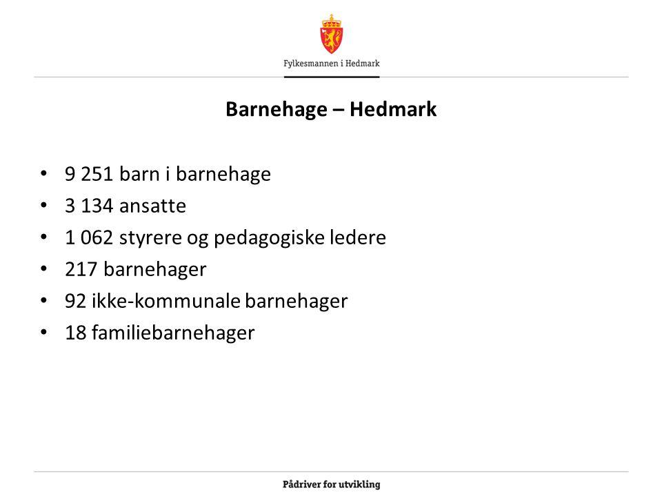 Barnehage – Hedmark 9 251 barn i barnehage 3 134 ansatte 1 062 styrere og pedagogiske ledere 217 barnehager 92 ikke-kommunale barnehager 18 familiebar