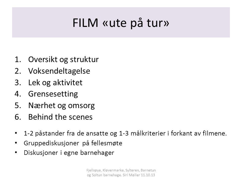 FILM «ute på tur» 1.Oversikt og struktur 2.Voksendeltagelse 3.Lek og aktivitet 4.Grensesetting 5.Nærhet og omsorg 6.Behind the scenes 1-2 påstander fra de ansatte og 1-3 målkriterier i forkant av filmene.