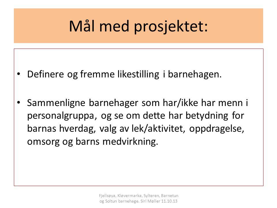 Mål med prosjektet: Definere og fremme likestilling i barnehagen.