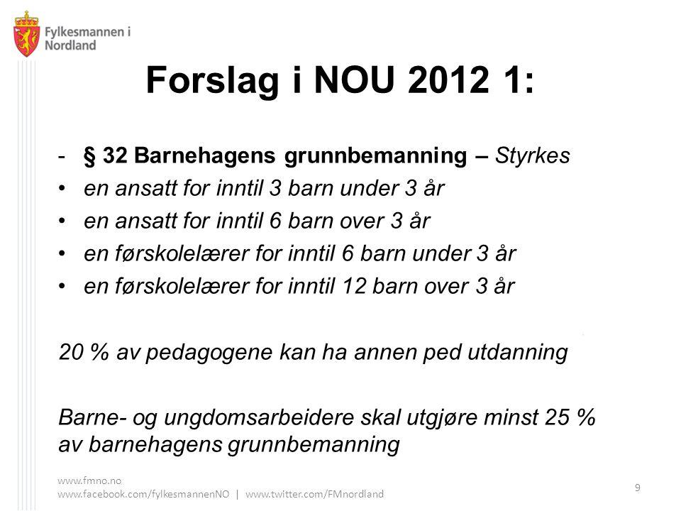 Forslag i NOU 2012 1: -§ 32 Barnehagens grunnbemanning – Styrkes en ansatt for inntil 3 barn under 3 år en ansatt for inntil 6 barn over 3 år en førsk
