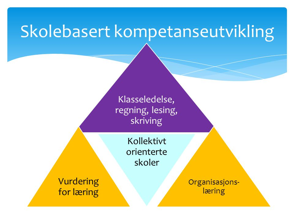 Skolebasert kompetanseutvikling Klasseledelse, regning, lesing, skriving Vurdering for læring Kollektivt orienterte skoler Organisasjons- læring