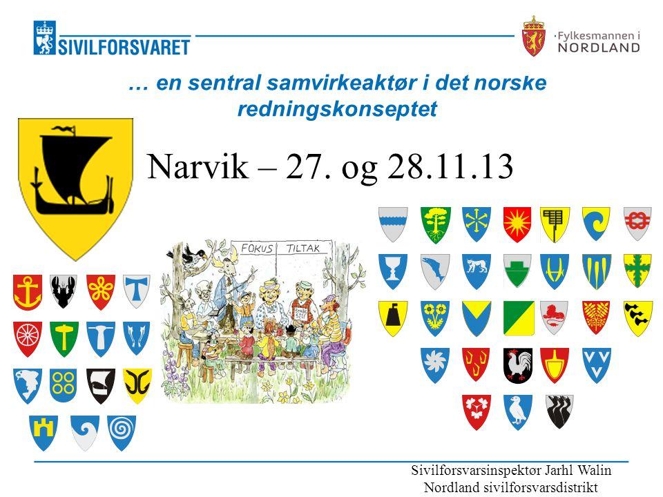 … en sentral samvirkeaktør i det norske redningskonseptet Narvik – 27. og 28.11.13 Sivilforsvarsinspektør Jarhl Walin Nordland sivilforsvarsdistrikt