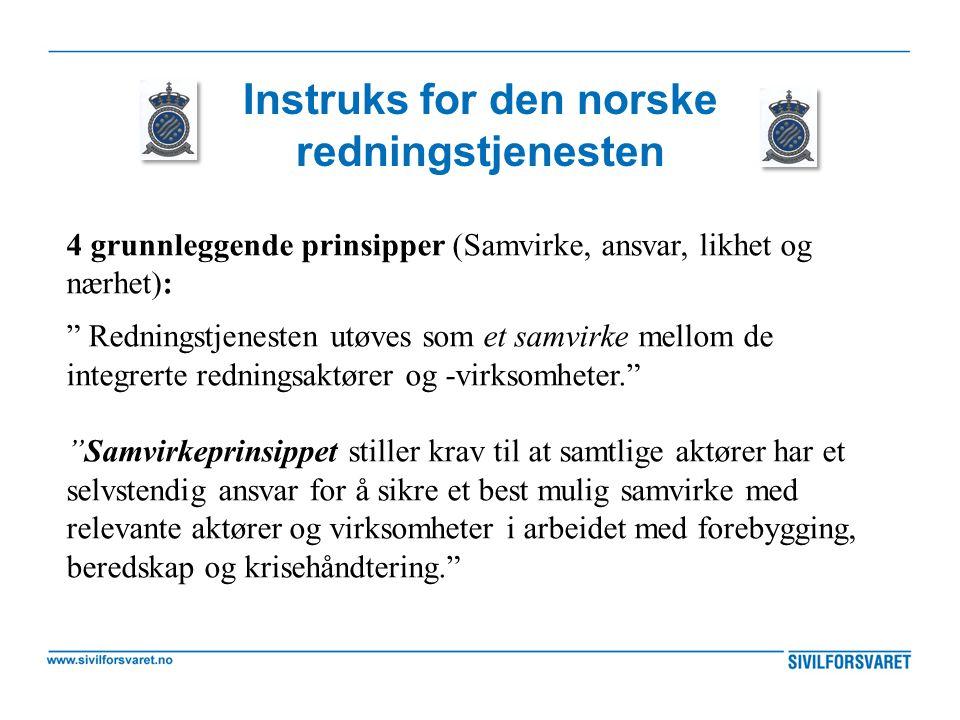 """Instruks for den norske redningstjenesten 4 grunnleggende prinsipper (Samvirke, ansvar, likhet og nærhet): """" Redningstjenesten utøves som et samvirke"""