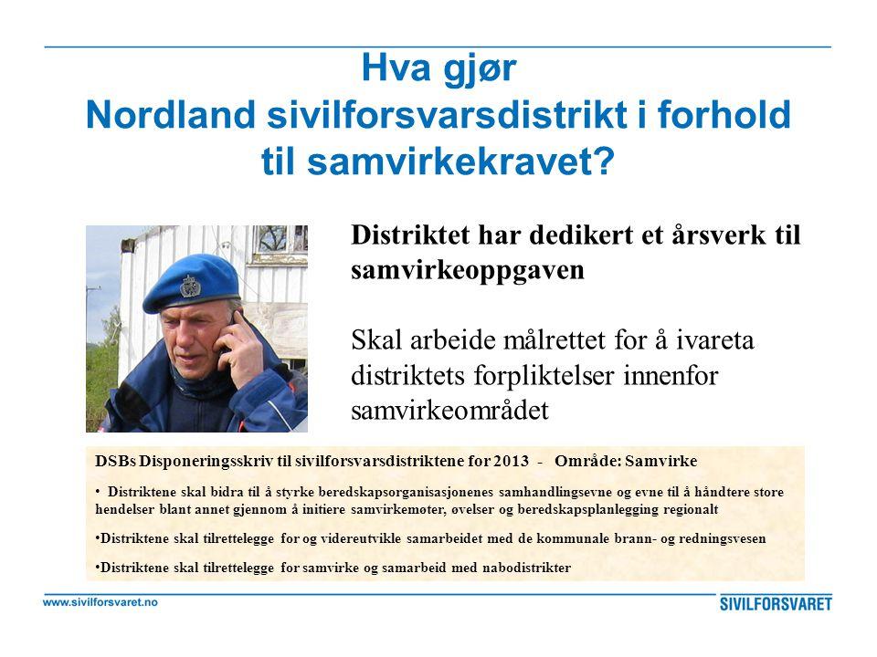 Hva gjør Nordland sivilforsvarsdistrikt i forhold til samvirkekravet? Distriktet har dedikert et årsverk til samvirkeoppgaven Skal arbeide målrettet f