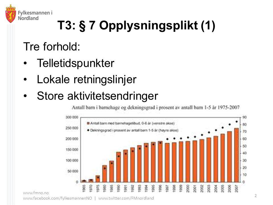 T3: § 7 Opplysningsplikt (1) Tre forhold: Telletidspunkter Lokale retningslinjer Store aktivitetsendringer www.fmno.no www.facebook.com/fylkesmannenNO | www.twitter.com/FMnordland 2