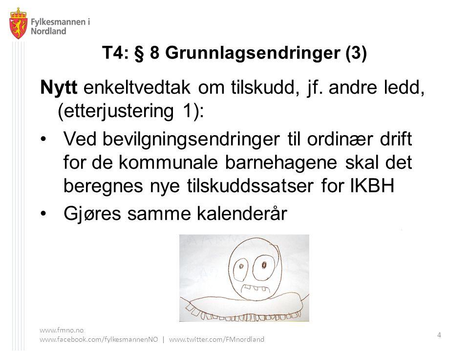 T4: § 8 Grunnlagsendringer (3) Nytt enkeltvedtak om tilskudd, jf. andre ledd, (etterjustering 1): Ved bevilgningsendringer til ordinær drift for de ko