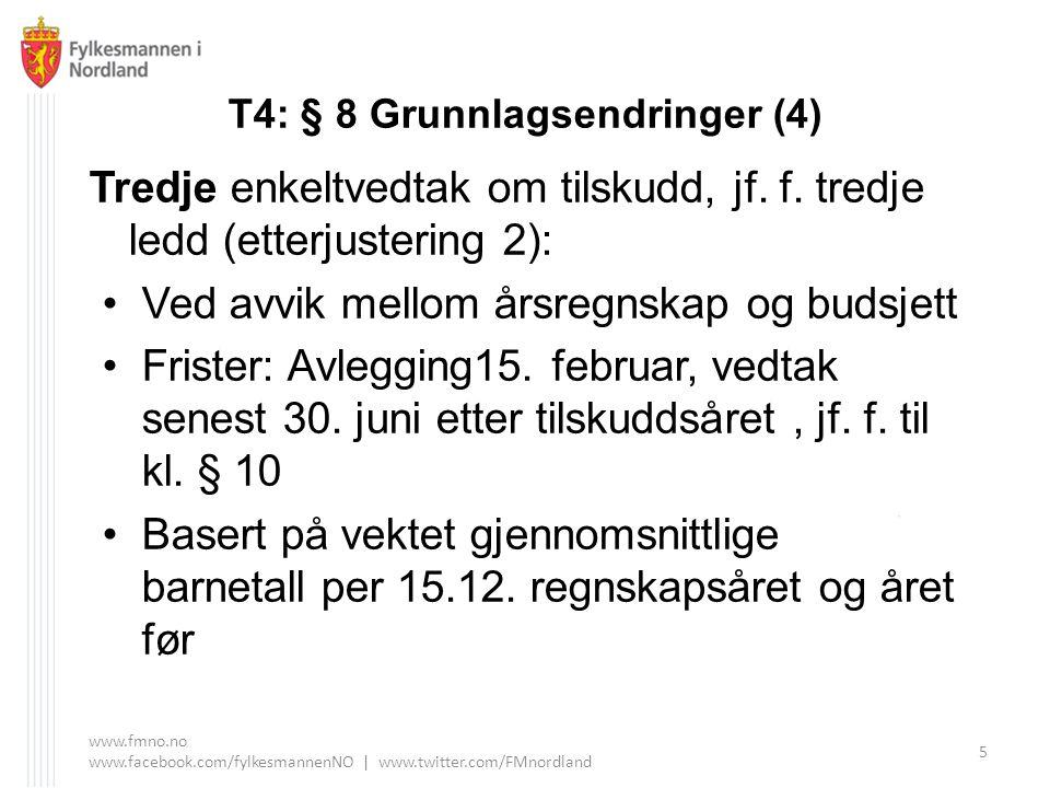 T4: § 8 Grunnlagsendringer (4) Tredje enkeltvedtak om tilskudd, jf. f. tredje ledd (etterjustering 2): Ved avvik mellom årsregnskap og budsjett Friste