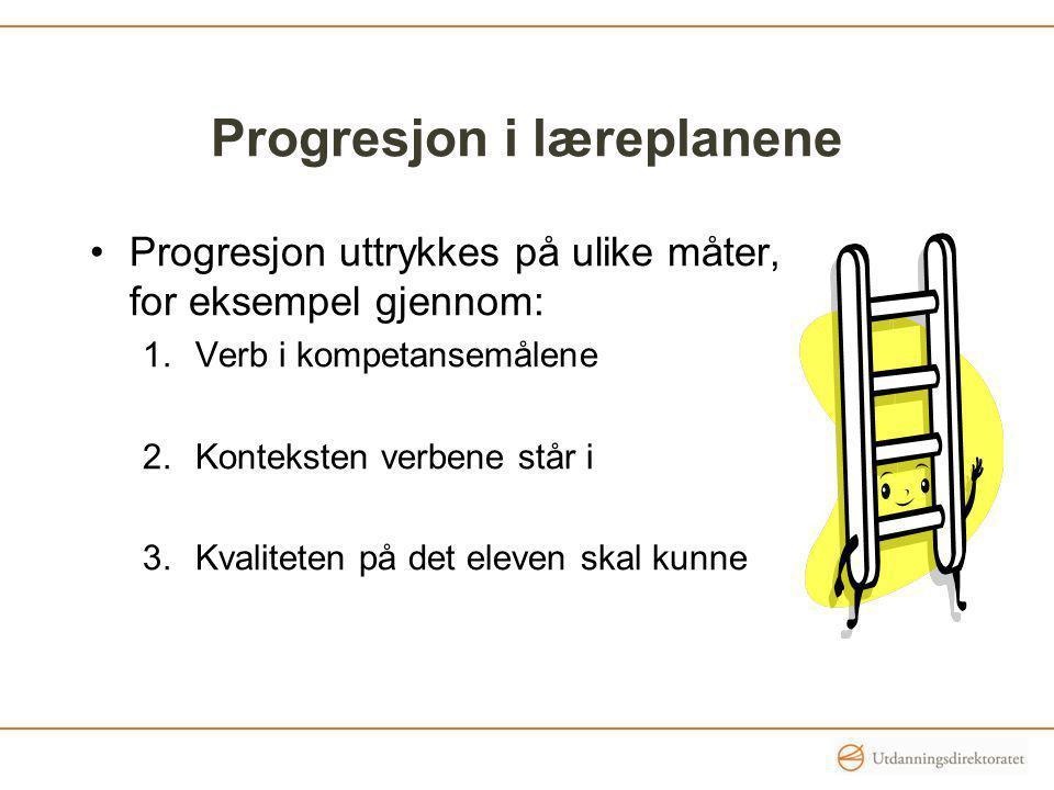 Progresjon i læreplanene Progresjon uttrykkes på ulike måter, for eksempel gjennom: 1.Verb i kompetansemålene 2.Konteksten verbene står i 3.Kvaliteten